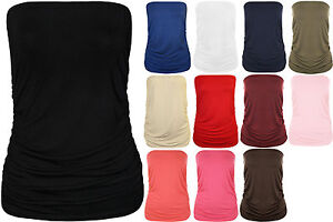 New-Plus-Size-Womens-Plain-Bandeau-Strapless-Ladies-Boob-Tube-Top-16-22