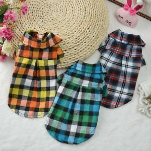 Small-Cute-Pet-Dog-Plaid-T-Shirt-Puppy-Coat-Cat-Shirt-Jacket-Clothes-Apparel-Top