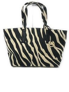 c71d72173d0a33 Image is loading Michael-Kors-Zebra-Print-Canvas-Large-Tote-Handbag