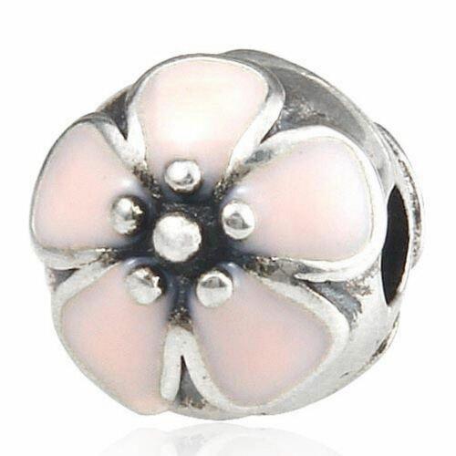 Dos plata esterlina hermosa flor de cerezo rosa esmalte flor Clips//Tapones