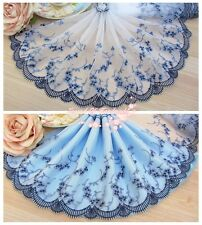 """7""""*1Y Embroidered Floral Tulle Lace Trim~White+Deep Blue+Grey Blue~Blue Fantasy~"""