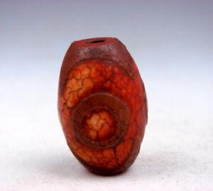 Antik Tibetisch Natürlich Achat Zinnober 3 Augen Muster Dzi-Steine Perlen