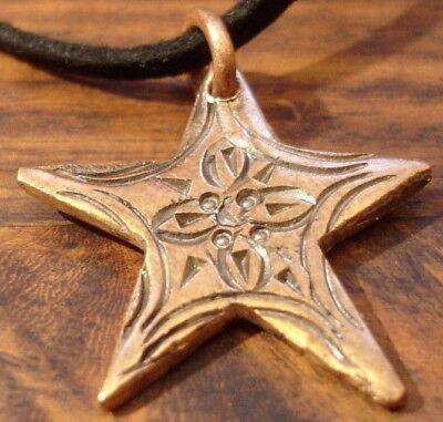 Moroccan Tuareg hand engraved copper star pendant + black tie