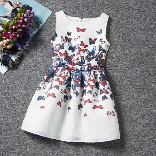 Summer Dress Sleeveless Printed Princess Grils Dress Teenagers Kids Cute Clothes
