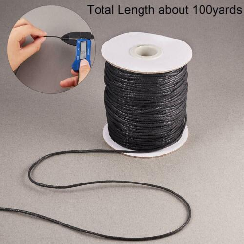 100Yards 1.5mm Waxed Cotton Cord Thread Beading String for Jewelry Craft Making