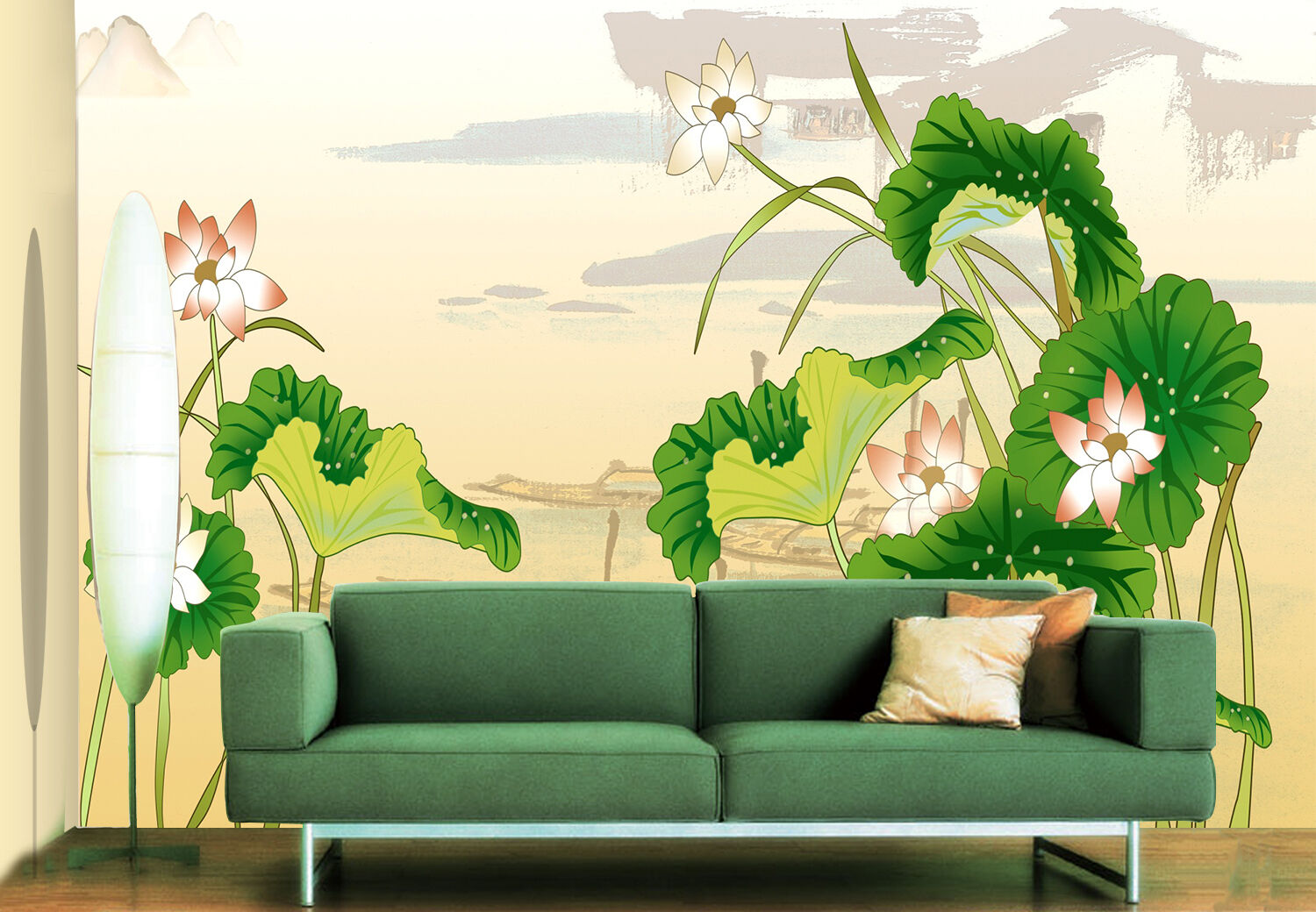 3D Green lotus leaves Wall Paper Wall Print Decal Wall Deco Indoor wall Murals