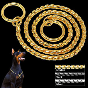 Snake-Chrome-Chocker-Chain-Pet-Dog-Show-Collars-Training-Slip-Silver-Gold-Black
