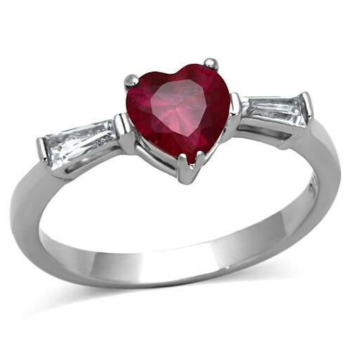 Heart CZ Ring Ruby Red w Clear Stainless Steel Engagement Promise Ring