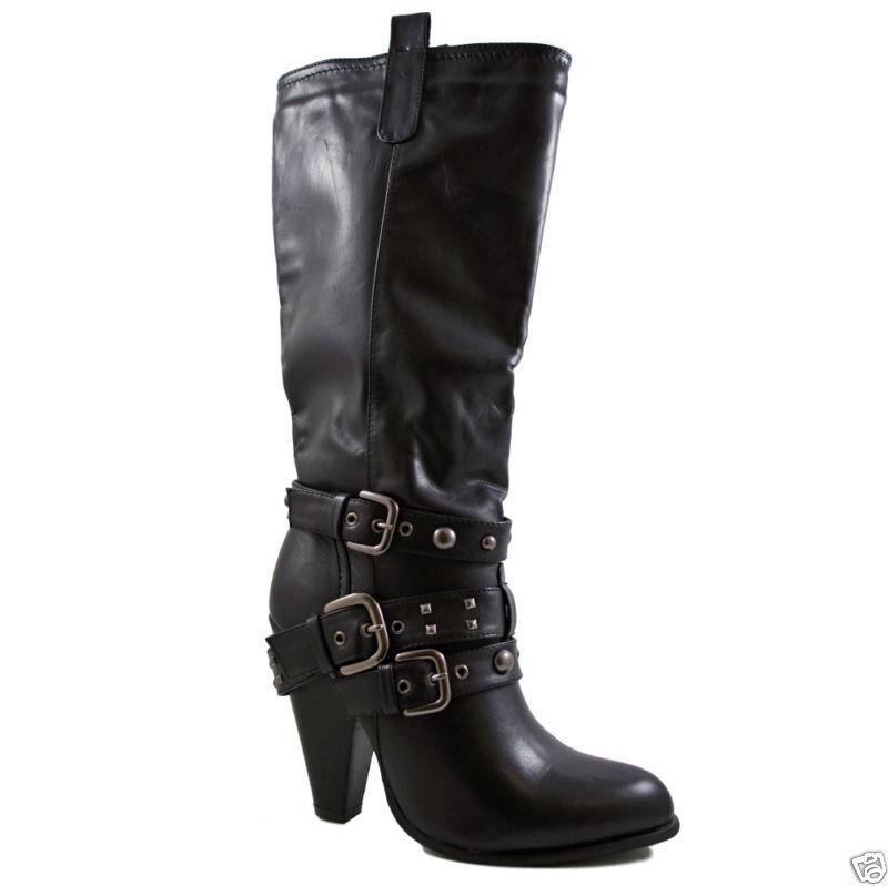 Damen Freizeit wadenlang Stiefel hoher Bbsatz Damen Größe UK 6