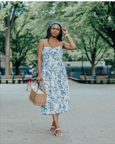 H/&M SS2020 de Moda Vestido Estampado Azul Mezcla Lino bloggers agotado vacaciones