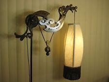 Vintage Metal Art Industrial Style Weighted Pulley Floor Lamp W/ Beautiful Shade