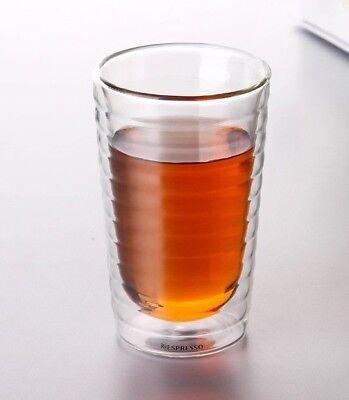 x10 Nespresso Tall Coffe Cup Double Glasses Espresso Latte Capuccino 350 ml NEW
