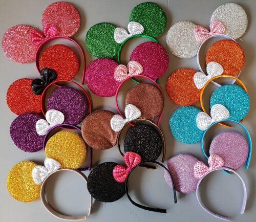 12 x Minnie mouse ears hairband fancy dress party hen night 8 glitter colours