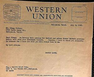 HAROLD-LLOYD-VERY-RARE-ORIGINAL-1938-WESTERN-UNION-TELEGRAM