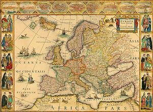 MAP-ANTIQUE-BLAEU-1664-EUROPE-OLD-HISTORIC-LARGE-REPLICA-POSTER-PRINT-PAM0564