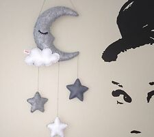 Monochrome Sleepy Moon cloud stars hanging nursery mobile baby wall decoration