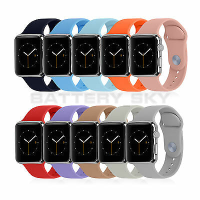 Silicone Sport Watch Band Replacement Strap For Apple Watch 38mm 42mm S&L