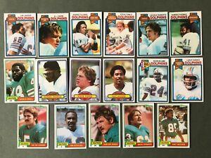 Lot 17 cartes NFL Miami Dolphins TOPPS 1979 1980 1981 Football Américain