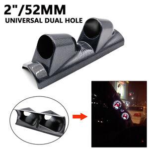 """2/"""" 52mm Universal Left Driver Carbon Fiber A Pillar Pod 2 Hole Gauge Holder Pod"""