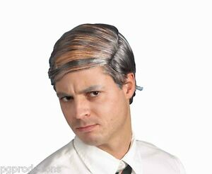 Funny-GREY-BALD-OLD-MAN-COMB-OVER-WIG-Fake-Hair-Rug-Rubber-Cap-Nerd-Costume-Joke
