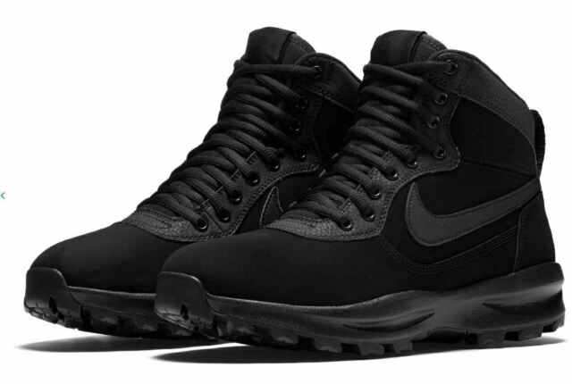 NIB Mens Nike Manoadome Leather Shoes Boots TRIPLE BLACK 844358 003 Hiking Boots