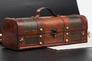 Wine Rack wooden storage box retro made leather stitching bottle wine box case