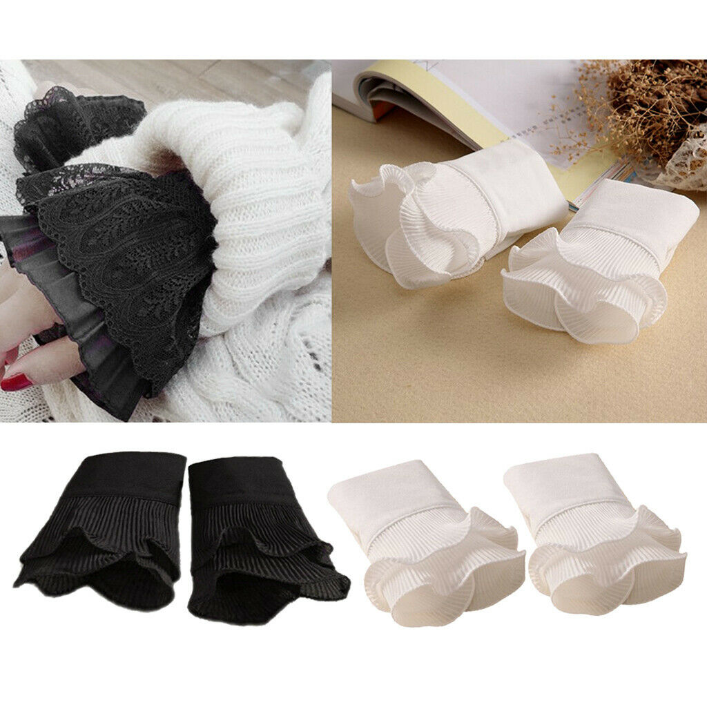 Ladies Girls Decorative Lace Cuffs Pleated False Sleeves Costume Decor