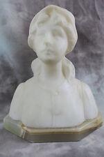 Jugendstil Alabaster Büste Frau / Mädchen Belgien ~1900 Figur / Skulptur Plastik