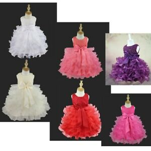 Flower Girls Princess Dress Baby Baptism Wedding Party Pageant Petal Tutu Gown