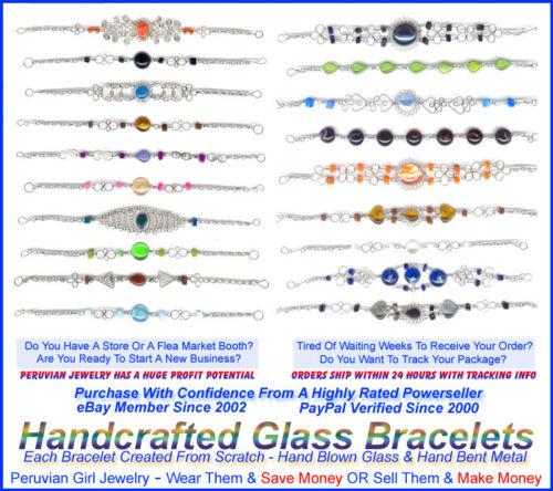 10 MURANO GLASS BEADED BRACELETS ALPACA SILVER HANDMADE
