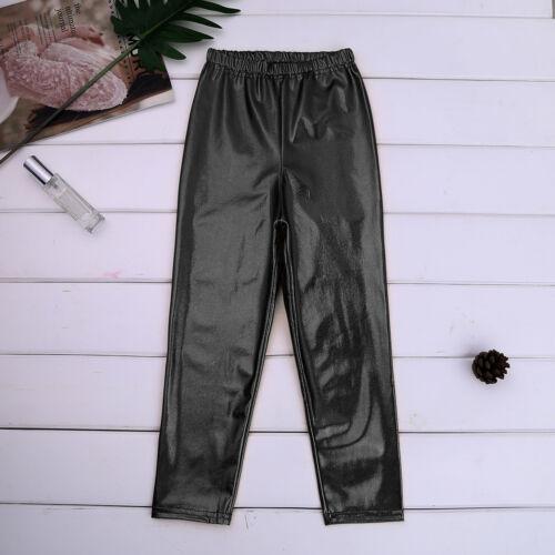 Kids Girls Dance Metallic Shiny Skinny Long Pants Gymnastics Stretchy Trousers