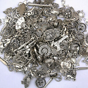 Lot-Tibetan-Silver-Metal-Charms-Pendant-Bracelet-Wholesale-Jewelry-Making