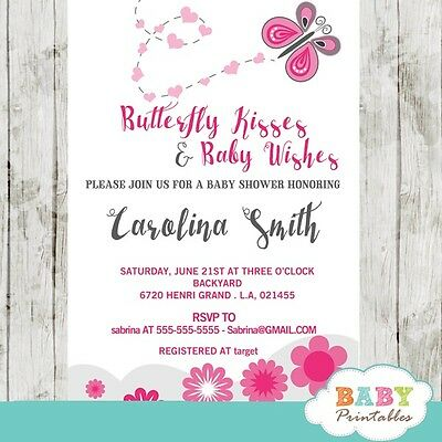 Pink Butterfly Baby Shower Invitation For Girls Printable Digital File Ebay