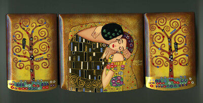 Klimt Hand Painted Beautiful Russian Lacquer box Mother of pearl Art Deco The Kiss by G