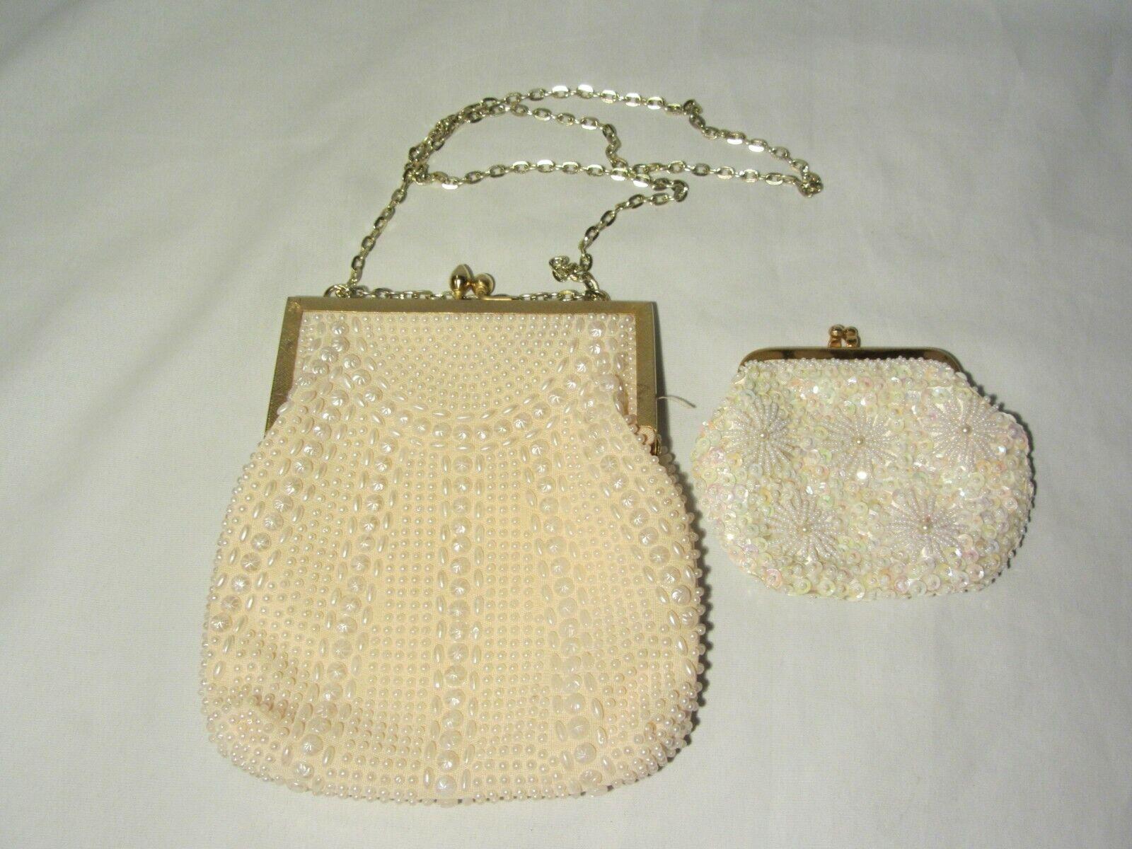 Vintage Fine Arts Bag Co. White Beaded Blush Handbag w/ Sequin Change Purse