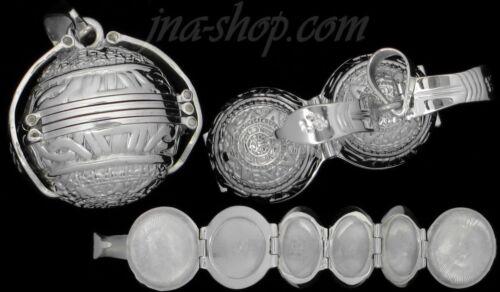 Sterling Silver Aztèque Mexica Soleil calendrier 6-Photo balle Médaillon Pendentif