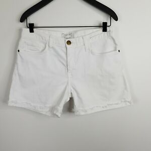 Current-Elliott-Women-039-s-The-Boyfriend-Rolled-Short-White-Denim-Raw-Hem-Size-27