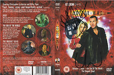 DR WHO personally signed DVD cover - CHRISTOPHER ECCLESTONE & BILLY PIPER