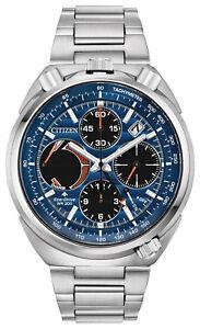 New-Citizen-Eco-Drive-Tsuno-Chronograph-Men-039-s-Stainless-Steel-Watch-AV0070-57L