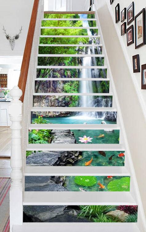 3D Teich Tier 351 Stair Risers Dekoration Fototapete Vinyl Aufkleber Tapete DE