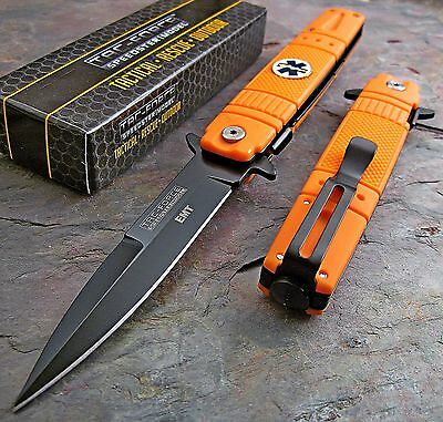 TAC FORCE Spring Assisted Opening ORANGE EMT EMS Stiletto Rescue Pocket Knife