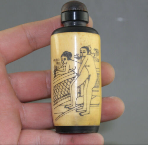 Cattle Bone Snuff Bottle Rare Chinese Hand-carved man woman