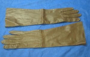 SUPERB-Super-Nice-BROWN-THIN-LEATHER-Vintage-Gloves-ELBOW-LENGTH-Washable-SZ-6