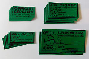 18-x-various-size-Cache-stickers-for-Geocaching-black-print-on-green