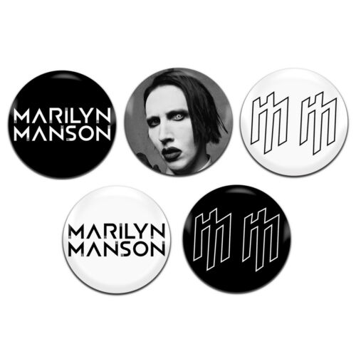 5x Marilyn Manson Goth Emo Rock 25mm 1 Inch D Pin Button Badges