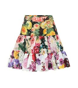 $875 Dolce & Gabbana AUTH NEW Mixed Floral Poplin Tiered Flared Mini Skirt 46