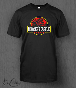 Nintendo-Super-Mario-T-Shirt-Bowser-039-s-Castle-MEN-039-S-Jurassic-Park-Smash-Bros