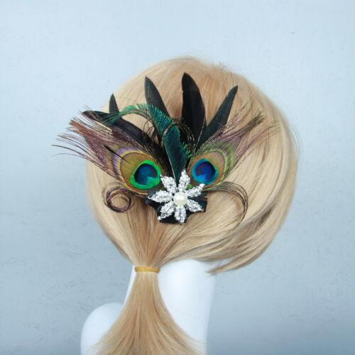 1920s Flapper Headband Peacock Feather Headpiece Vintage Gatsby Hair Accessories