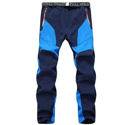 NEW Men Outdoor Hiking Warm Fleece Windproof Waterproof Trekking Patchwork Pants