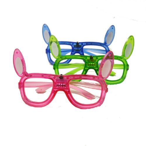 LED Light Up Bunny Rabbit Ears Glasses Easter Flashing Glow Kids Costume Shades